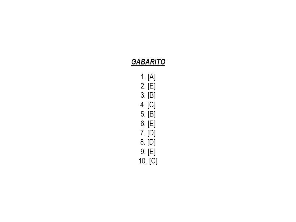 GABARITO 1. [A] 2. [E] 3. [B] 4. [C] 5. [B] 6. [E] 7. [D] 8. [D] 9. [E] 10. [C]